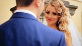 Bride and groom meet shot in slow motion  close up. Shot in slow motion  close up stock footage
