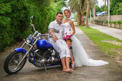 Bride and Groom on Motorcycle Royalty Free Stock Photo