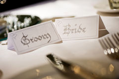 Bride and Groom name place cards Stock Images