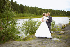 Bride and groom on nature Stock Photo