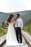 Bride and groom in nature Royalty Free Stock Image
