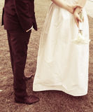 Bride and groom in nature vintage style Royalty Free Stock Photography