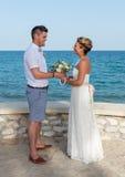 Bride and Groom near the Beach Royalty Free Stock Photo
