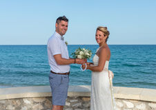 Bride and Groom near the Beach Stock Photos