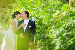 Bride and groom outdoors Stock Photo