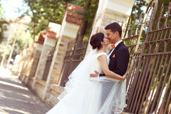 Bride and groom near fence Royalty Free Stock Photo