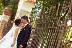 Bride and groom near fence Stock Images