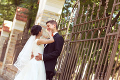 Bride and groom near fence Stock Image