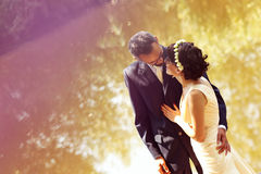 Bride and groom near lake surrounded by nature Stock Images