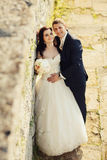 Bride and groom near old ruined castle wall Royalty Free Stock Photo
