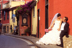 Bride and groom. Near port with cityscape Stock Photo