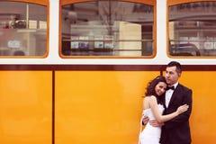 Bride and groom near tram Stock Photos