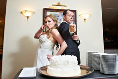 Bride and groom near wedding cake Royalty Free Stock Images
