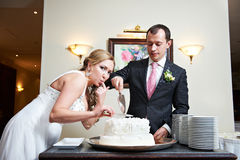Bride and groom near wedding cake Stock Image