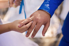 Bride and groom next to, the bride dress wedding ring to the groom, male and female hand with wedding rings Stock Images
