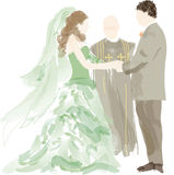 Bride, groom and officant  Stock Photos