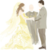 Bride, groom and officant  Royalty Free Stock Image