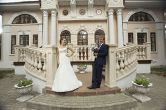 Bride and groom in an old mansion Royalty Free Stock Image