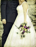 Bride and groom. Old styled photo. Stock Photo