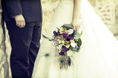 Bride and groom. Old styled photo. Royalty Free Stock Image