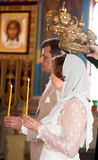Bride and groom at orthodox wedding ceremony Stock Photos