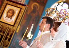 Bride and groom on orthodox wedding ceremony Stock Image