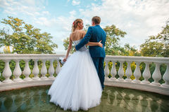 Bride and groom. On outdoor Royalty Free Stock Photo