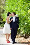 Bride and groom outdoors Royalty Free Stock Photography