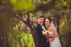 Bride and groom outdoors portrait Stock Images