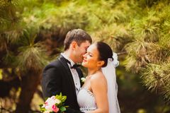 Bride and groom outdoors portrait Royalty Free Stock Photos