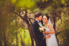 Bride and groom outdoors portrait Stock Image