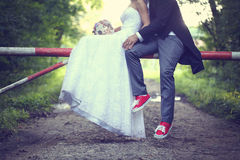 Bride and groom outside Royalty Free Stock Image