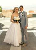Bride and Groom outside in the sunshine Stock Photos