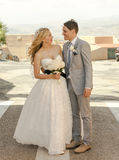 Bride and Groom outside in the sunshine Stock Image