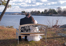 Bride and Groom overlooking a cove stock photos