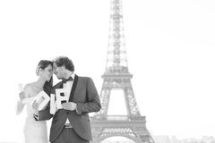 Bride and groom in paris , france Stock Photo