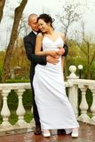 Bride and groom in a park Stock Image