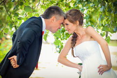 Bride and groom. In park stock images