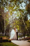The bride and groom in the park arch.  Stock Photo