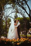 The bride and groom in the park arch.  Stock Photos