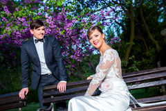 Bride and groom in a park Stock Photos