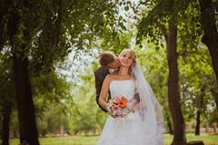 Bride and groom in a park kissing.couple newlyweds bride and groom at a wedding in nature green forest are kissing photo portrait. Stock Images