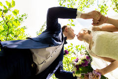 Bride and groom in a park kissing. Royalty Free Stock Photography