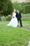 Bride and groom in a park outdoor Stock Image