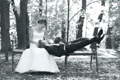 Bride and groom  in  park Royalty Free Stock Photos