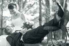 Bride and groom  in  park Stock Photography
