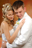 Bride and groom. Photo of bride and groom on their wedding day filming an expression of joy Stock Image