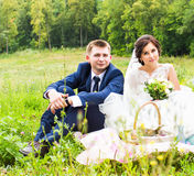 Bride and groom on picnic in a park Stock Image