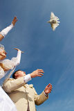 Bride groom and pigeons Royalty Free Stock Images