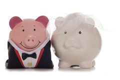 Bride and groom piggy banks Royalty Free Stock Photo